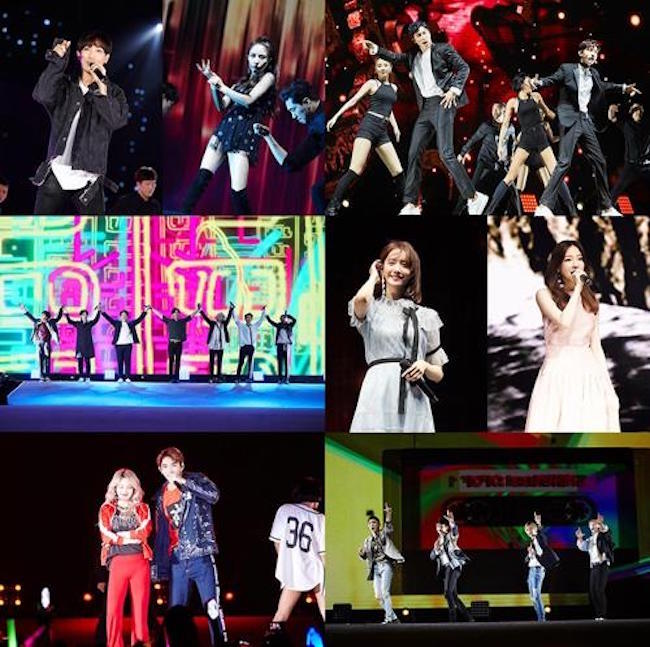 A total of 14 acts, including EXO, Red Velvet and TVXQ, participated in the joint label concert. The company announced that some 15,000 gathered at the event. (Image: Yonhap)