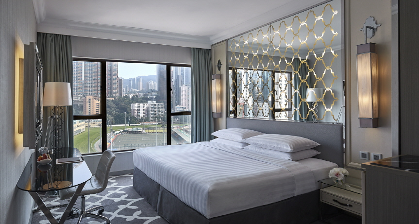The newly renovated Premier Room overlooking the Happy Valley racecourse. (image: Dorsett Wanchai, Hong Kong)