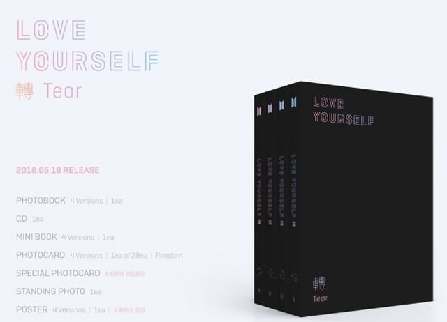 "Gmarket Global said that 20 percent of BTS's third album ""Love Yourself: Tear"" sold in 54 countries between April 18 and May 27, went to Taiwanese fans. (image: Gmarket Global)"
