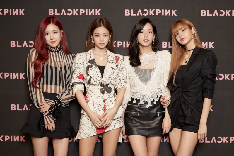 "Girl group BLACKPINK pose at a press conference for the release of their first EP, ""Square UP,"" on June 15, 2018. (image: YG Entertainment)"