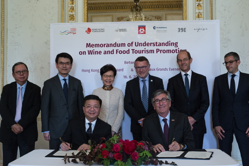 Hong Kong and Bordeaux sign a Memorandum of Understanding on wine and food tourism promotion. (image: Hong Kong Tourism Board)
