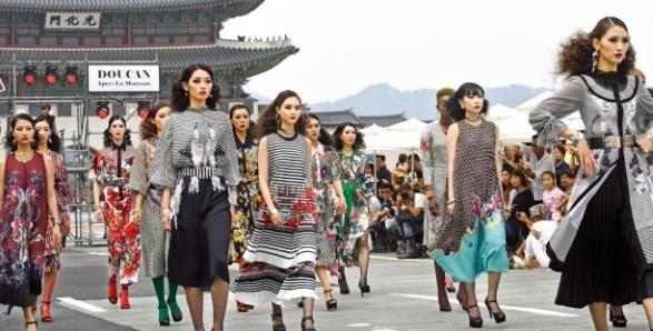 "Models Showcasing Runway Walks to Mark ""Car-free Street Day"""