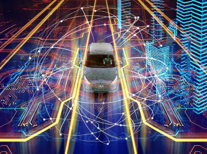 The image shows the advanced connectivity technology that allows vehicles to communicate with roads. (image: Hyundai Motor)