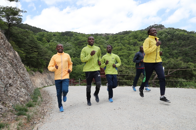 Kenyan Marathoners Fall for a Mountain Trail in Songnisan