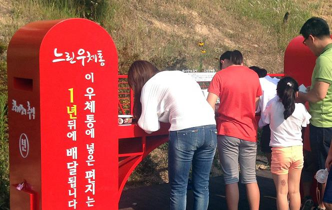 Postcards placed in one of the mailboxes are delivered after a month, while those placed in the other mailbox are delivered after a year has passed. (image: Changwon City Office)