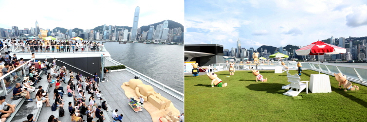 You can enjoy the stunning view of Victoria Harbour and sun bathing together with BE@RBRICKS.