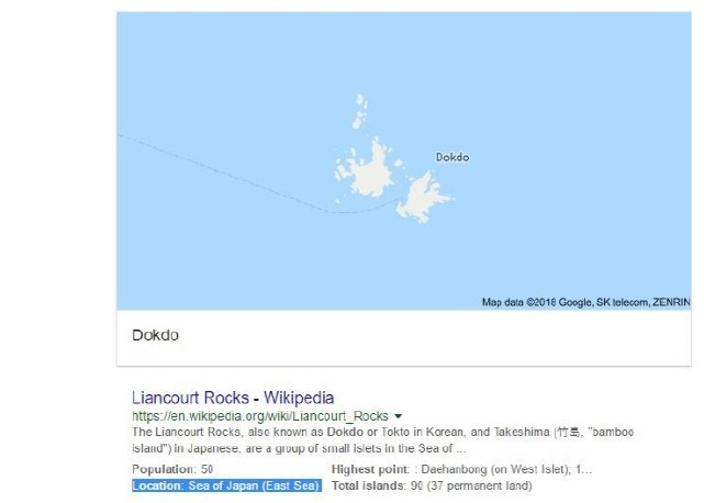 "Google Includes ""East Sea"" in Search Results for ""Dokdo"""