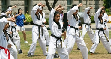 International Taekwondo Youth Trainees Demonstrate Their Skills at Seoul Plaza