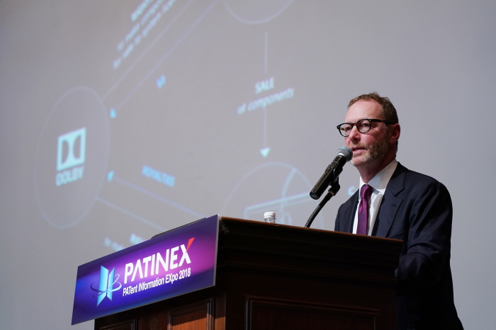 """Dolby Laboratories Executive Vice President, General Counsel and Corporate Secretary Andy Sherman delivered keynote titled, """"Leveraging IP for Future Growth,"""" at PATINEX 2018 on September 6, 2018 in Seoul. (image: Dolby Laboratories)"""
