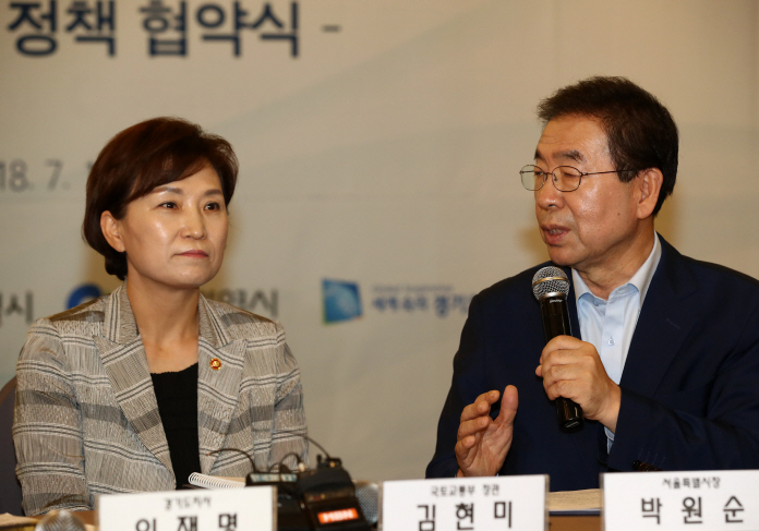 Land Minister Kim Hyun-mee (L) and Seoul Mayor Park Won-soon (R). (image: Yonhap)