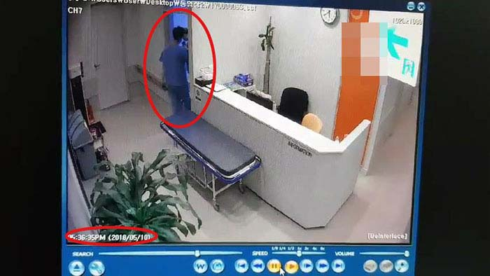 A footage of an amateur entering the operation room. (image: Yonhap)