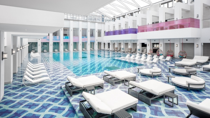 This image, provided by Paradise Segasammy Co., shows an artist's rendition of a spa at Paradise City, a resort complex near Incheon International Airport, west of Seoul, set to open on Sept. 21, 2018. (Yonhap)