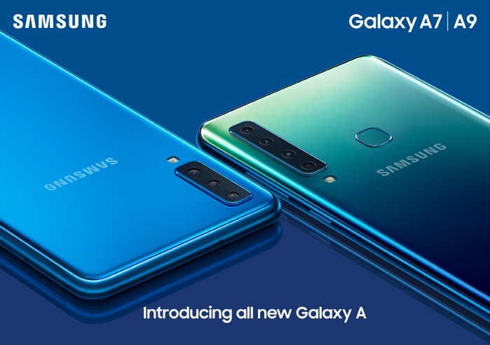 Four rear cameras installed on the Galaxy A9 smartphone (R). (image: Samsung Electronics)