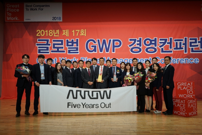 "Arrow Electronics team celebrates winning """"Great Place to Work for 2018"" award in Korea. (image: Arrow Electronics)"