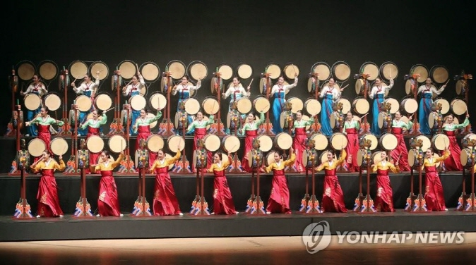 A traditional art performance during the opening ceremony of the Culture City of East Asia in Busan in May, 2018. (Yonhap)