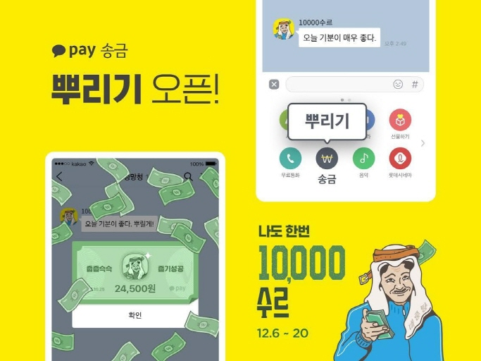 The 'sprinkle' service allows a user to share a certain amount of money with their friends in a KakaoTalk chatroom. (image: Kakao Pay)