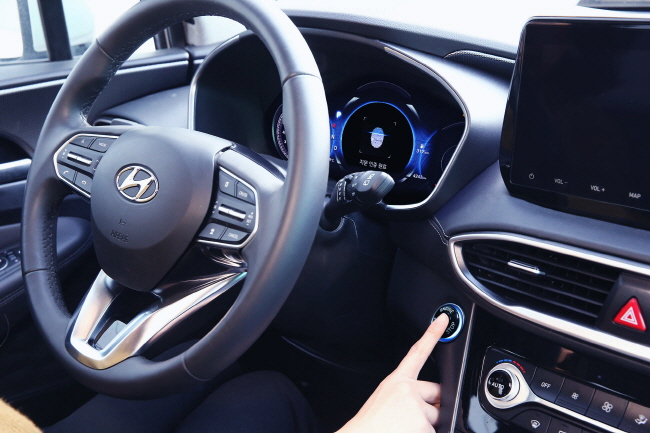 The start button has fingerprint recognition, allowing the driver to start the vehicle only after the fingerprint has been recognized. (image: Hyundai Motor)