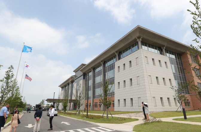 The new U.S. Forces Korea headquarters at Camp Humphreys in Pyeongtaek, south of Seoul. (Yonhap)
