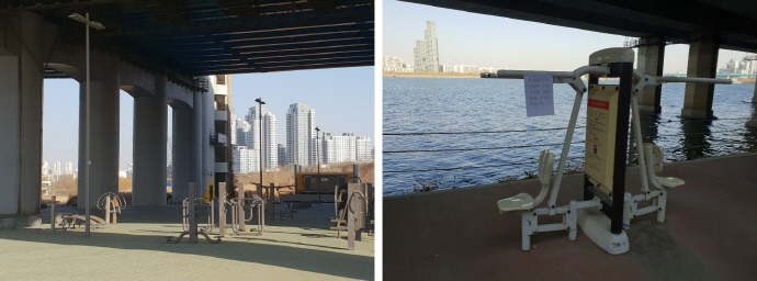 A workout area on the bank of the Han River in Seoul is deserted while a sign in the right photo, supposedly written and hung by city officials, advises people to refrain from using the workout equipment when the fine dust level is high. (Yonhap)