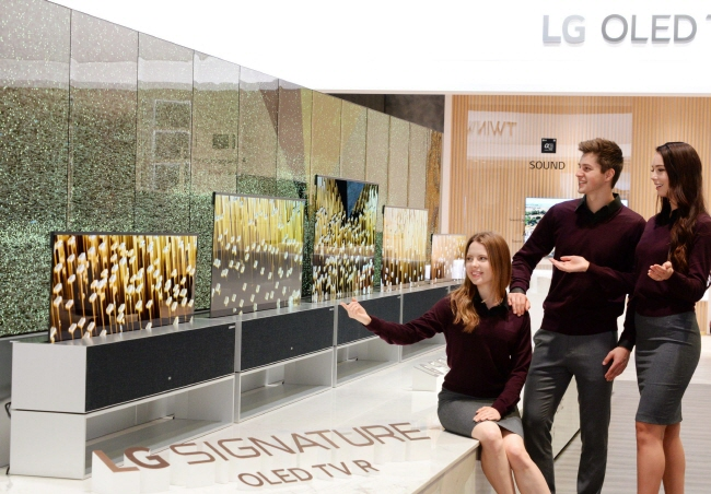 LG Electronics Inc. debuts the world's first rollable OLED television in Las Vegas on Jan. 7, 2018, ahead of the Consumer Electronics Show. (image: LG Electronics Inc.)