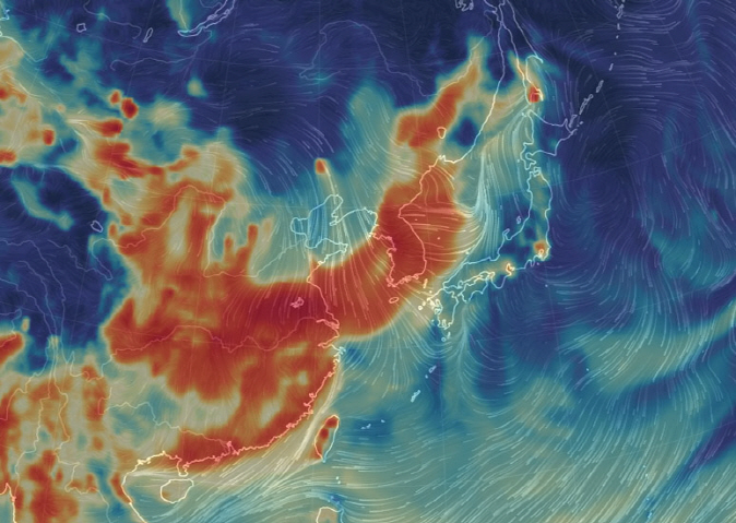 Fine dust concentrations over China and the Korean Peninsula as of 9 a.m. on Jan. 15, 2019, when an ultrafine dust alert was issued in South Korea. (image: Earth Nullschool)