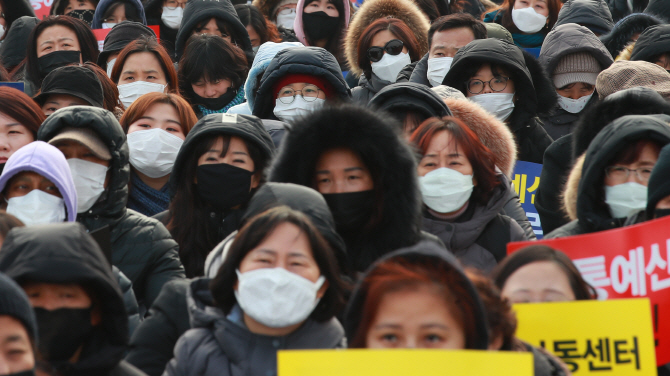 Most participants in a protest rally are seen wearing masks due to fine dust during a rally in Seoul on Jan. 15, 2019. (Yonhap)