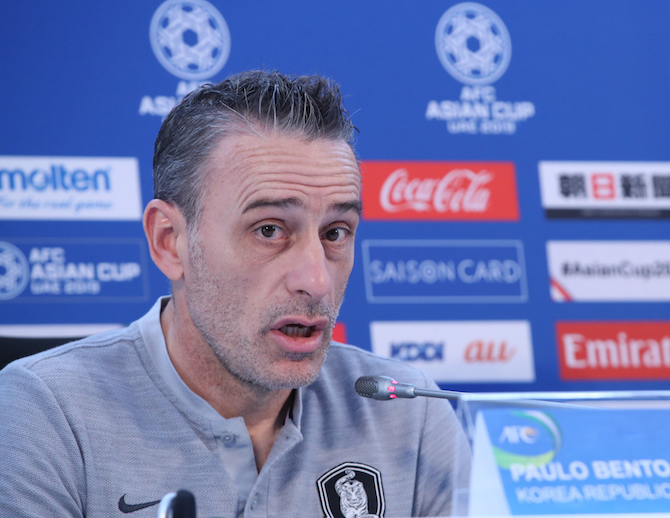 South Korea national football team head coach Paulo Bento speaks at a press conference at Rashid Stadium in Dubai, the United Arab Emirates (UAE), on Jan. 21, 2019, one day ahead of his team's AFC Asian Cup round of 16 match against Bahrain. (Image: Yonhap)