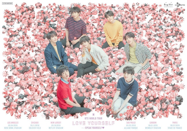 "The poster for BTS' ""Love Yourself: Speak Yourself"" world tour. (image: Big Hit Entertainment)"