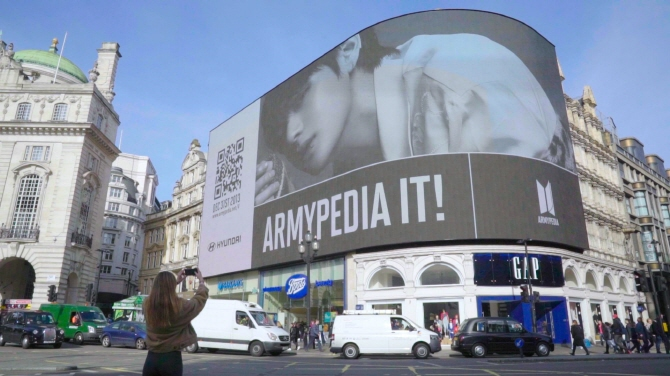 BTS' teaser video for its new website plays in London's Piccadilly Circus on Feb. 22, 2019. (image: Hyundai Motor Co.)