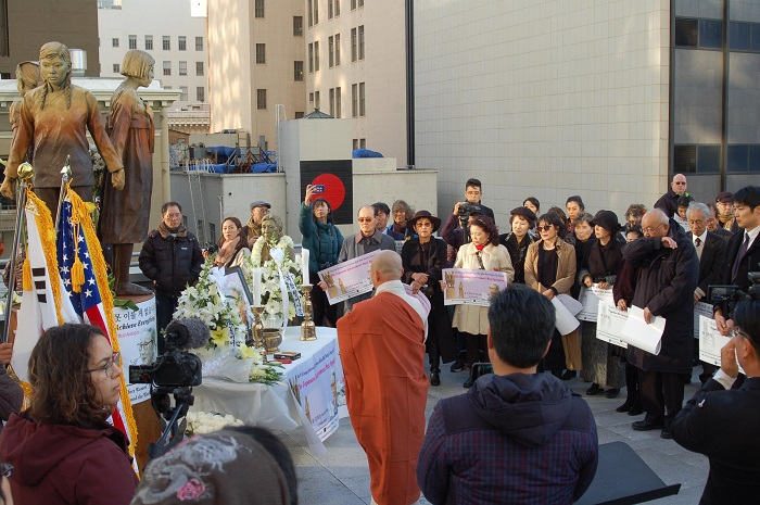 A memorial service for Kim was held in St. Mary's Square in San Francisco, where a statue to symbolize Japanese military sexual slavery was first built. (image: Jin Duck & Kyung Sik Kim Foundation)