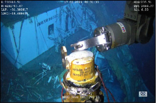 A voyage data recorder of the sunken South Korean bulk carrier Stellar Daisy being retrieved on Feb. 17, 2019. (image: Ministry of Oceans and Fisheries)