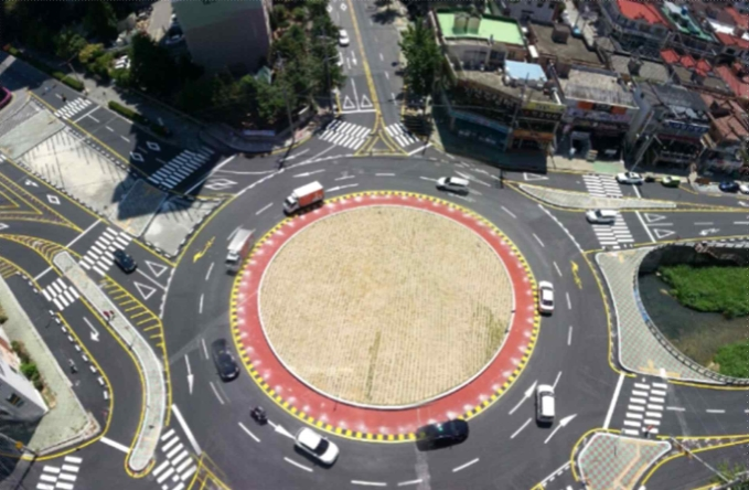A roundabout is a circular intersection with a traffic island at the center, and traffic flows counterclockwise around the traffic island. (image: Ministry of the Interior and Safety)