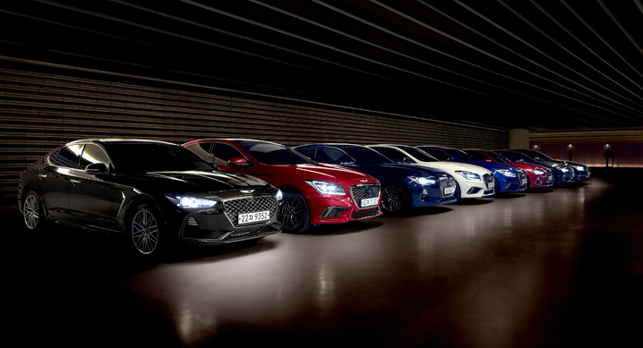 Under Hyundai Motor's Genesis Spectrum program, subscribers can drive Genesis vehicles – including the G70, G80, G80 Sport and G90 – for 1.49 million won ($1,330) per month. (image: Hyundai Motor)