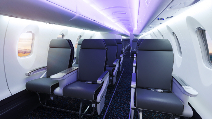 CRJ550 aircraft model interiors. (image: Bombardier Commercial Aircraft)