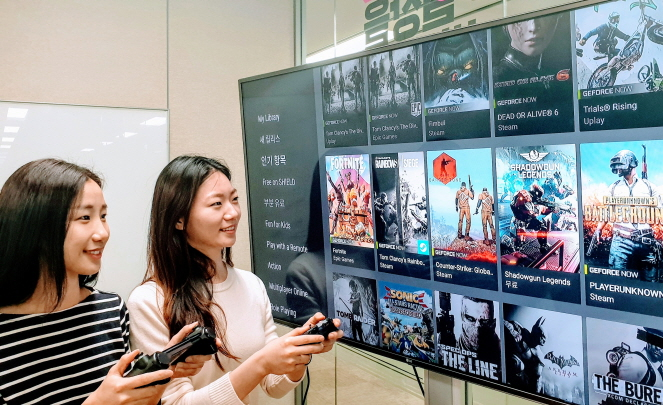 LG Uplus employees test Nvidia's GeForce NOW cloud gaming platform via Internet Protocol television. (image: LG Uplus)