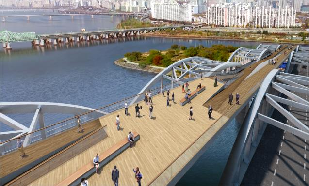 A new footbridge to be built over the Han River by 2021. (image: Seoul Metropolitan Government)