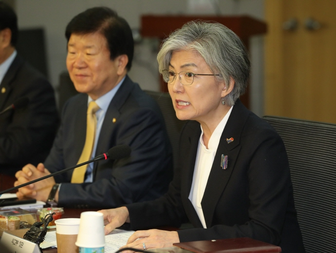 Foreign Minister Kang Kyung-wha speaks at a National Assembly meeting in Seoul on March 7, 2019. (Yonhap)