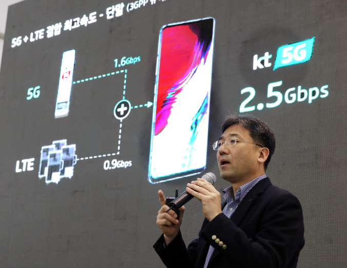 Seo Chang-seok, EVP and Head of Network Strategy Unit at KT, explains the mobile carrier's first 5G network service slated for early next month during a press meeting in Seoul, on March 26, 2019. (Yonhap)