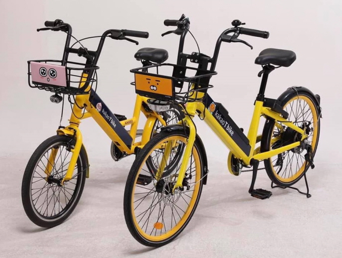 Users can rent bikes through an app and leave the bike at their final destination. (image: Kakao Corp.)