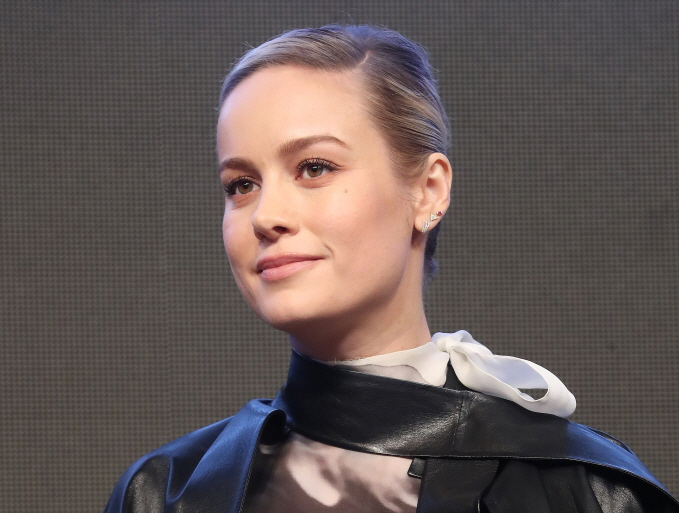 "Actress Brie Larson poses for photos during a press conference in Seoul on April 15, 2019, to promote ""Avengers: Endgame."" (Yonhap)"
