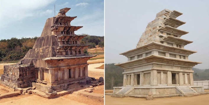 Mireuk Temple's stone pagoda before (L) and after a 20-year-long restoration work. (Yonhap)