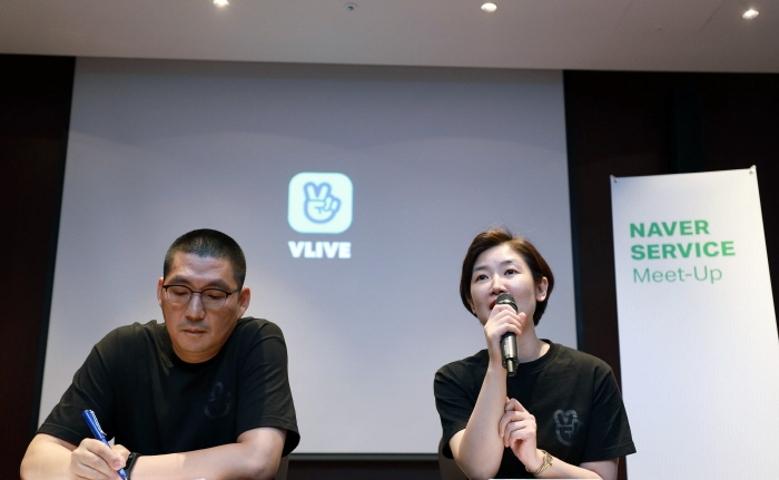 Park Sun-young, co-CEO of Naver V CIC (R), and co-CEO Chang Joon-ki talk to reporters in Seoul on May 23, 2019. (image: Naver)