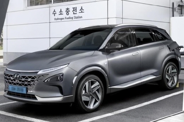 Hyundai's Nexo hydrogen fuel-cell electric vehicle at a hydrogen fueling station in South Korea. (image: Bucheon City Office)