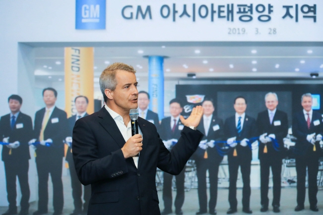 GM International President Julian Blissett answers questions from local reporters in a Q&A session held in GM Korea's plant in Incheon, just west of Seoul on Jun. 25, 2019. (image: GM Korea)