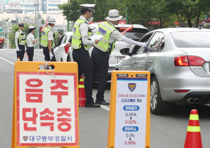 Police officers pull over a car to ask its driver to blow into an alcohol detector during a drunk driving examination on a road in the city of Daegu on June 25, 2019. (Yonhap)