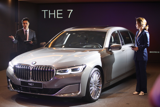 The upgraded flagship 7 Series, a full-size luxury sedan produced by the German automaker BMW, during a publicity event in Seoul on June 26, 2019. (Yonhap)