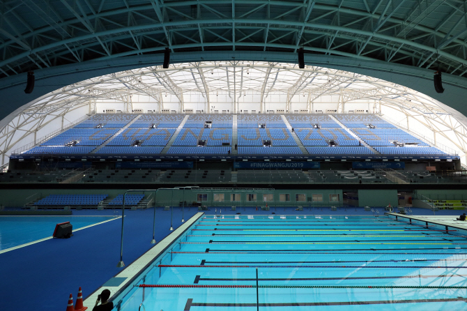 Nambu University Municipal Aquatics Center in Gwangju, 330 kilometers south of Seoul, the main venue for the 2019 FINA World Aquatics Championships. (Yonhap)