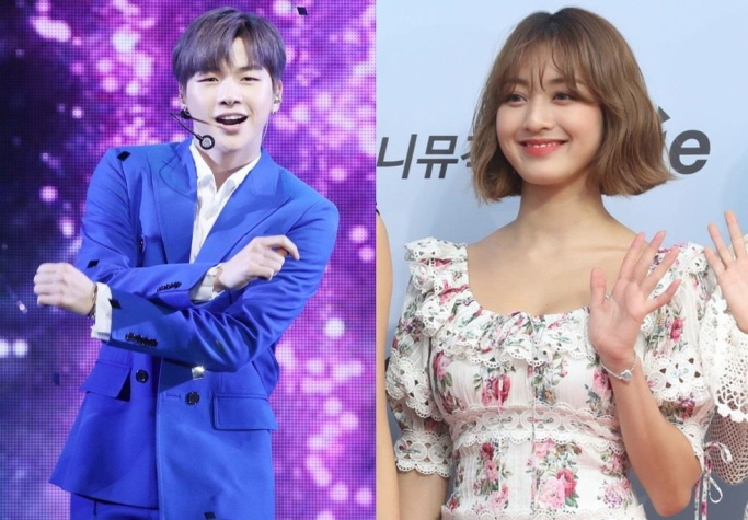Kang Daniel (L) and TWICE member Jihyo. The two K-pop stars confirmed Aug. 5, 2019 that they are in a romantic relationship. (Yonhap)