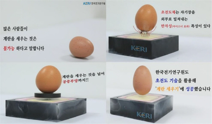 The KERI team glued a magnet under an egg and placed it on a superconductor cooled to minus 196 degrees Celsius using liquid nitrogen. (image: Korea Electrotechnology Research Institute)