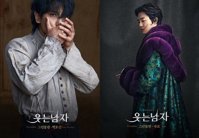 "Park Hyo-shin (L) and EXO's Suho in the role of Gwynplaine, the main character of the musical ""The Man Who Laughs."" (image: EMK Musical Company)"